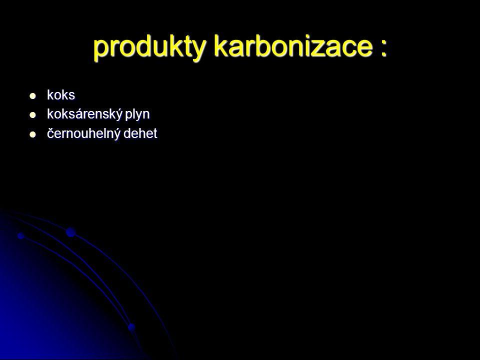 produkty karbonizace :