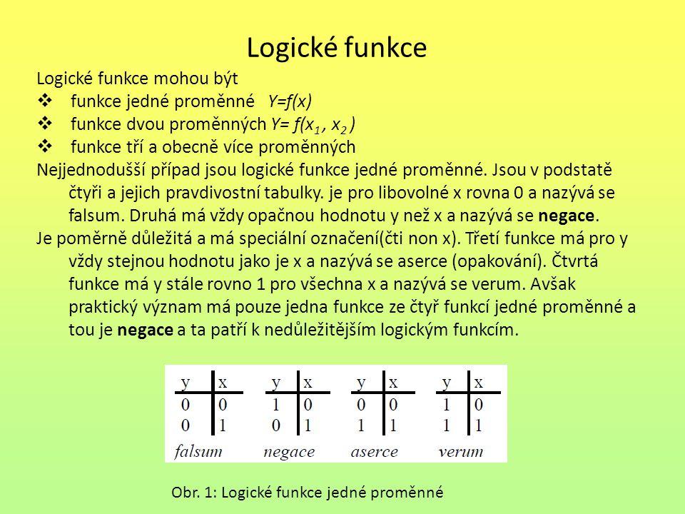 Logické funkce Logické funkce mohou být funkce jedné proměnné Y=f(x)