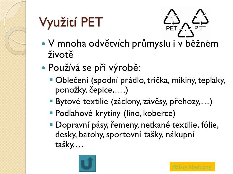 Využití PET V mnoha odvětvích průmyslu i v běžném životě