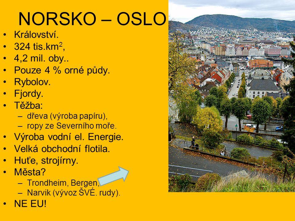 NORSKO – OSLO Království. 324 tis.km2, 4,2 mil. oby..