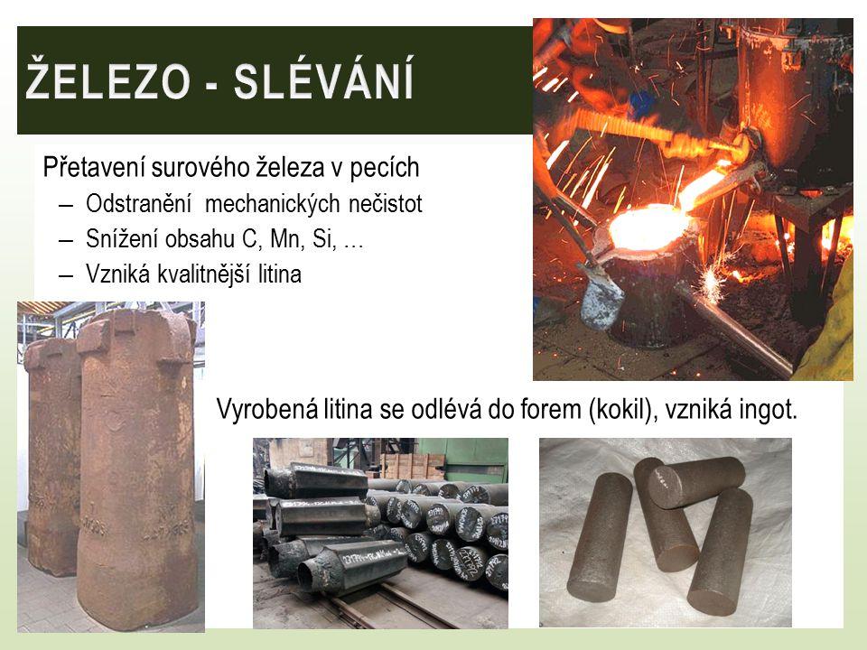 ŽELEZO - SLÉVÁNÍ Přetavení surového železa v pecích