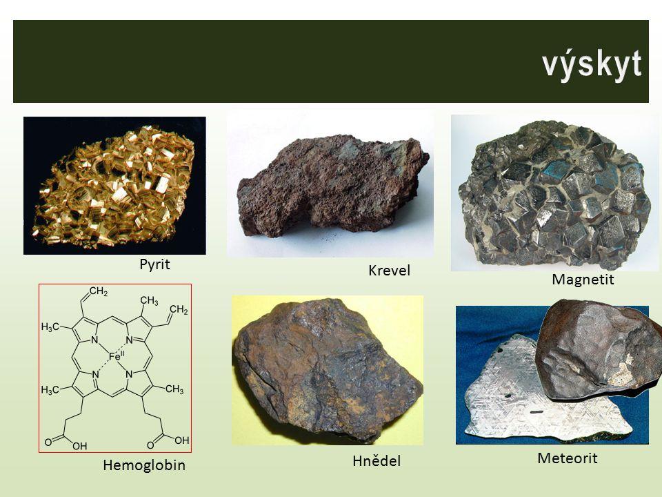 výskyt Krevel Pyrit Magnetit Hemoglobin Hnědel Meteorit