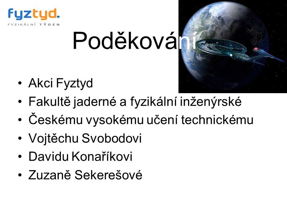 Poděkování Akci Fyztyd Fakultě jaderné a fyzikální inženýrské