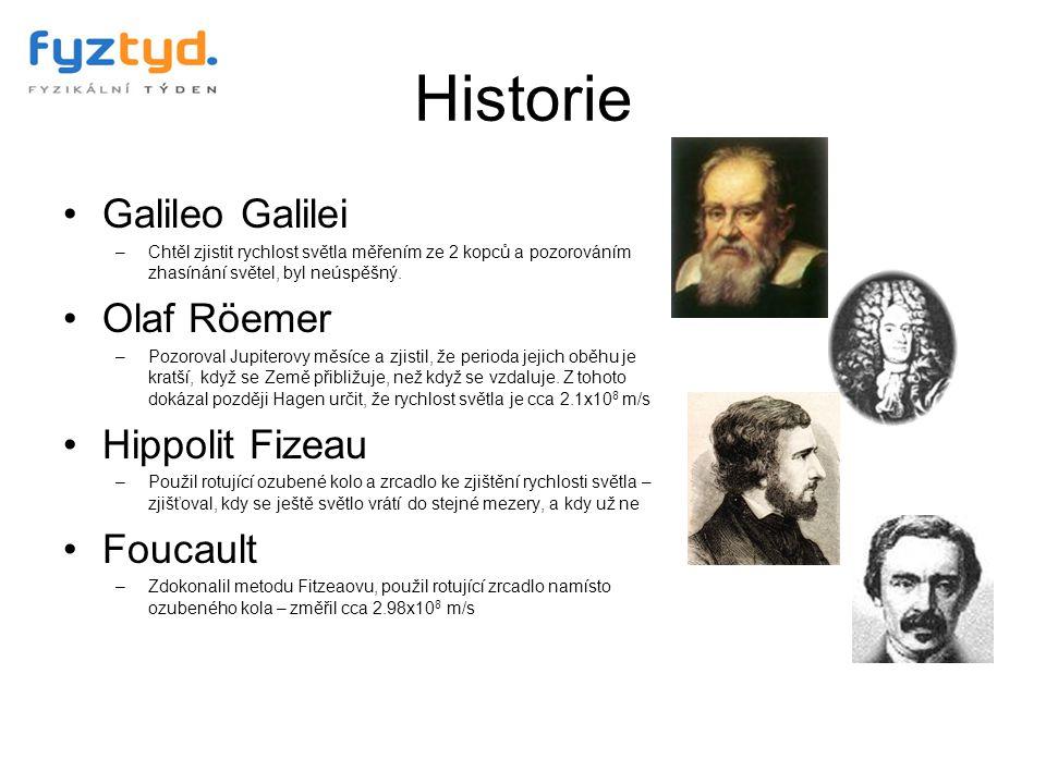 Historie Galileo Galilei Olaf Röemer Hippolit Fizeau Foucault
