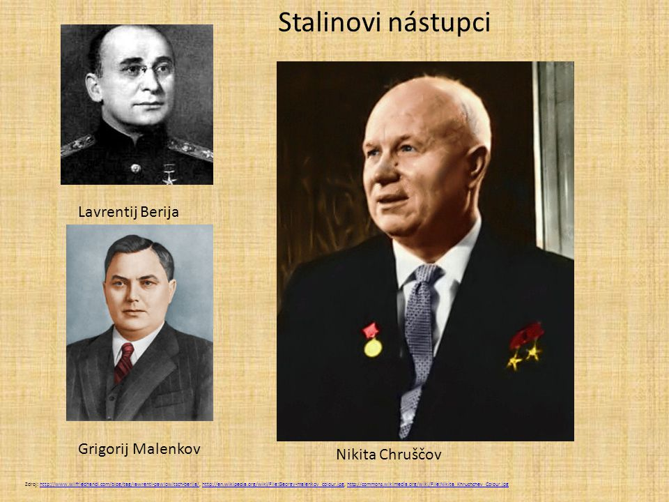 Stalinovi nástupci Lavrentij Berija Grigorij Malenkov Nikita Chruščov