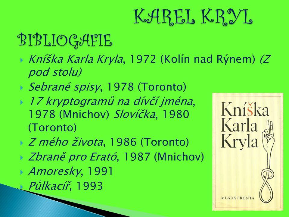 KAREL KRYL BIBLIOGAFIE