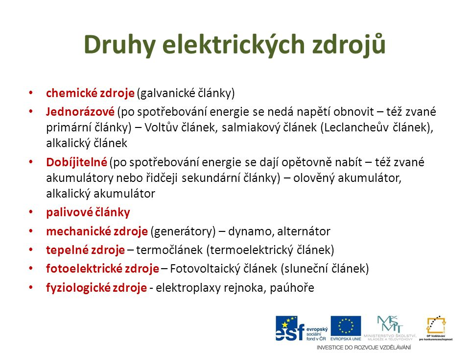 Druhy elektrických zdrojů