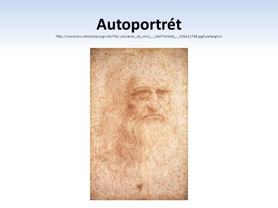 Autoportrét http://commons.wikimedia.org/wiki/File:Leonardo_da_Vinci_-_Self-Portrait_-_WGA12798.jpg?uselang=cs.