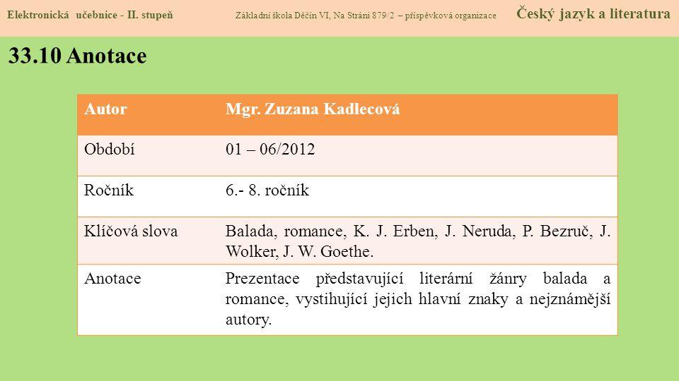 33.10 Anotace Autor Mgr. Zuzana Kadlecová Období 01 – 06/2012 Ročník