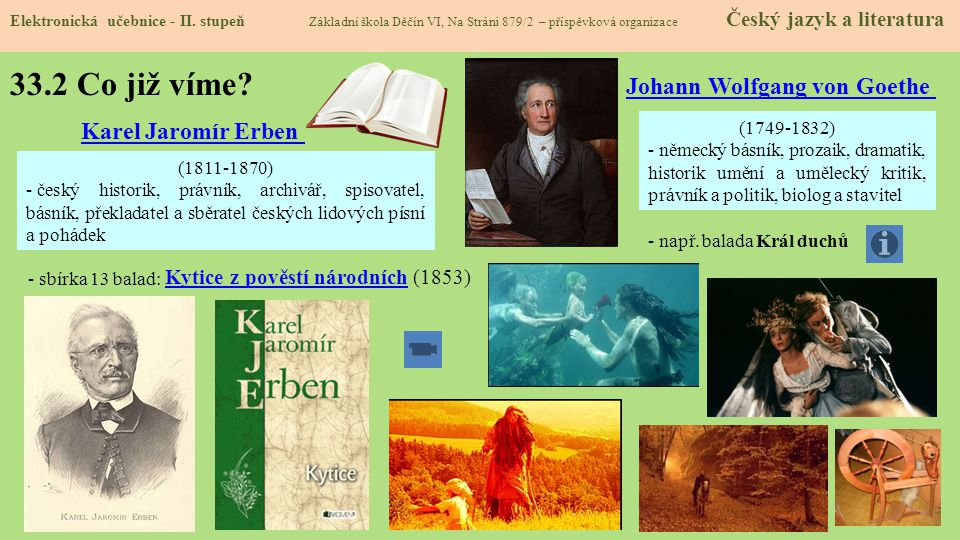 33.2 Co již víme Johann Wolfgang von Goethe Karel Jaromír Erben