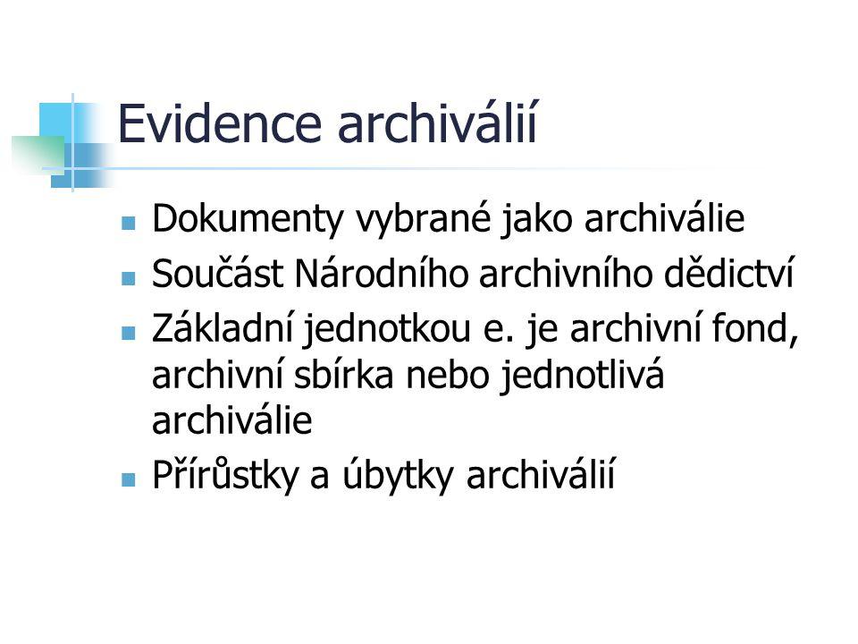 Evidence archiválií Dokumenty vybrané jako archiválie