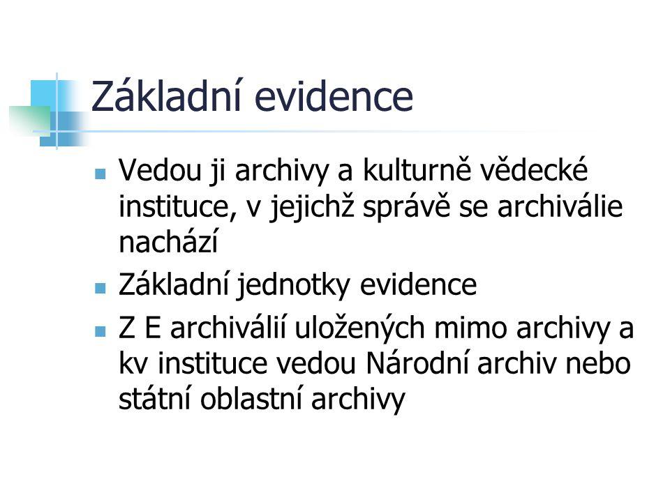 Základní evidence Vedou ji archivy a kulturně vědecké instituce, v jejichž správě se archiválie nachází.
