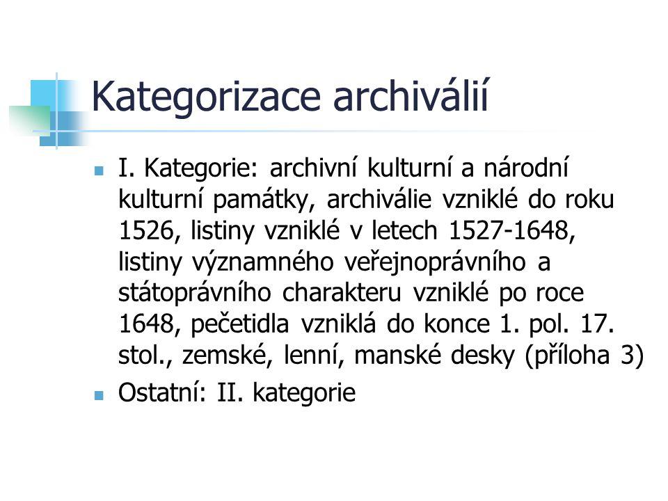Kategorizace archiválií
