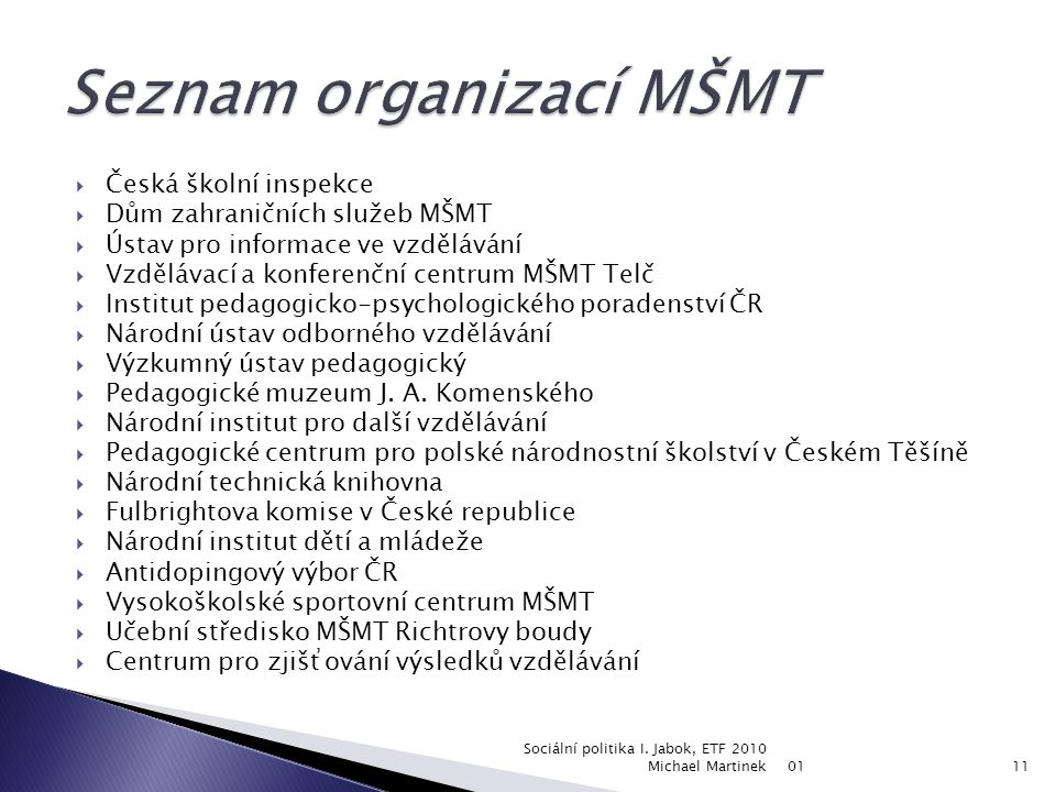 Seznam organizací MŠMT