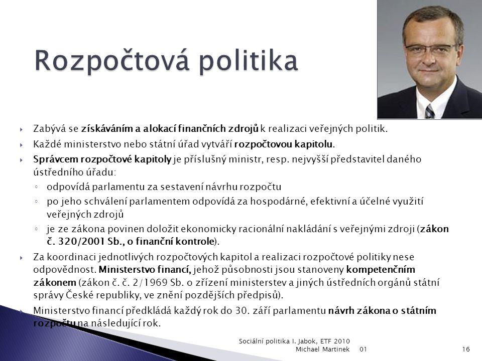 Rozpočtová politika Zabývá se získáváním a alokací finančních zdrojů k realizaci veřejných politik.