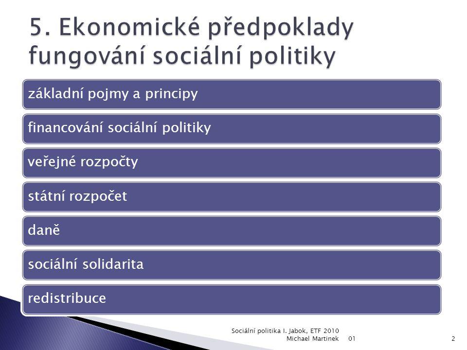 5. Ekonomické předpoklady fungování sociální politiky