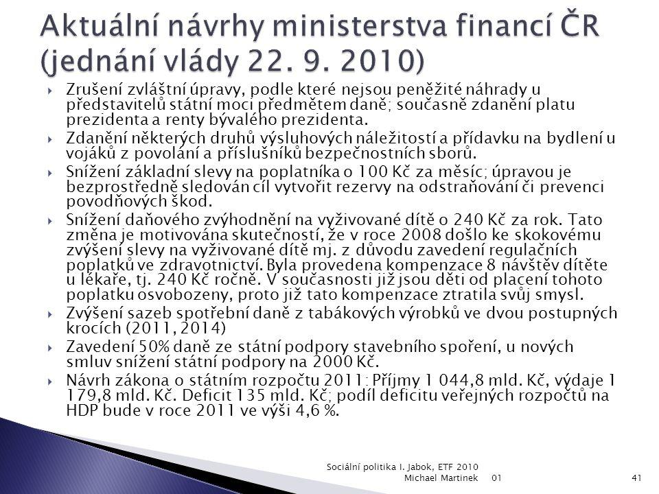 Aktuální návrhy ministerstva financí ČR (jednání vlády 22. 9. 2010)