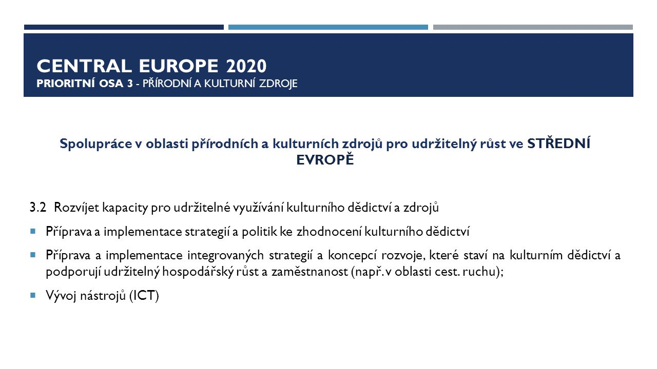 CENTRAL EUROPE 2020 Prioritní osa 3 - přírodní a kulturní zdroje