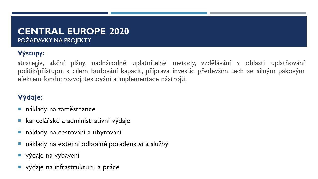 Central europe 2020 Požadavky na projekty
