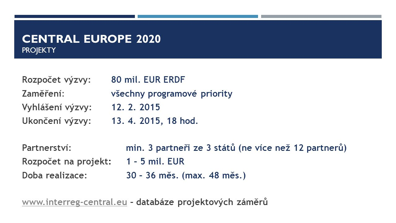 Central europe 2020 PROJEKTY