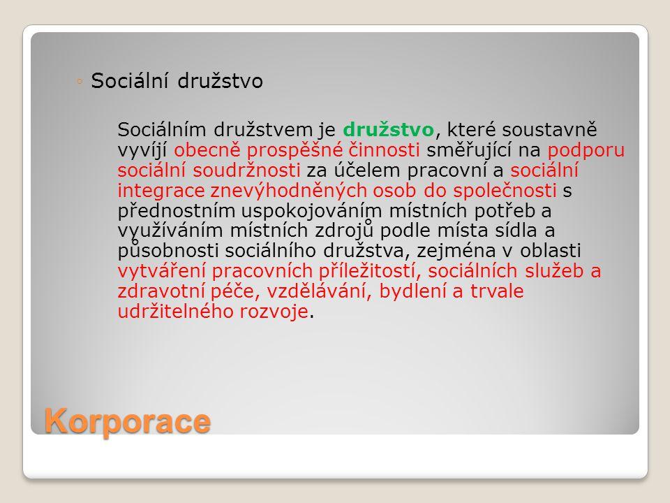 Korporace Sociální družstvo