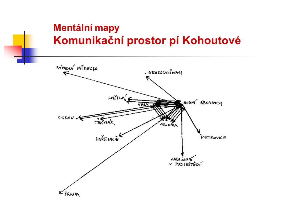 Mentální mapy Komunikační prostor pí Kohoutové