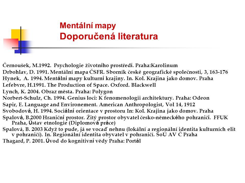 Mentální mapy Doporučená literatura