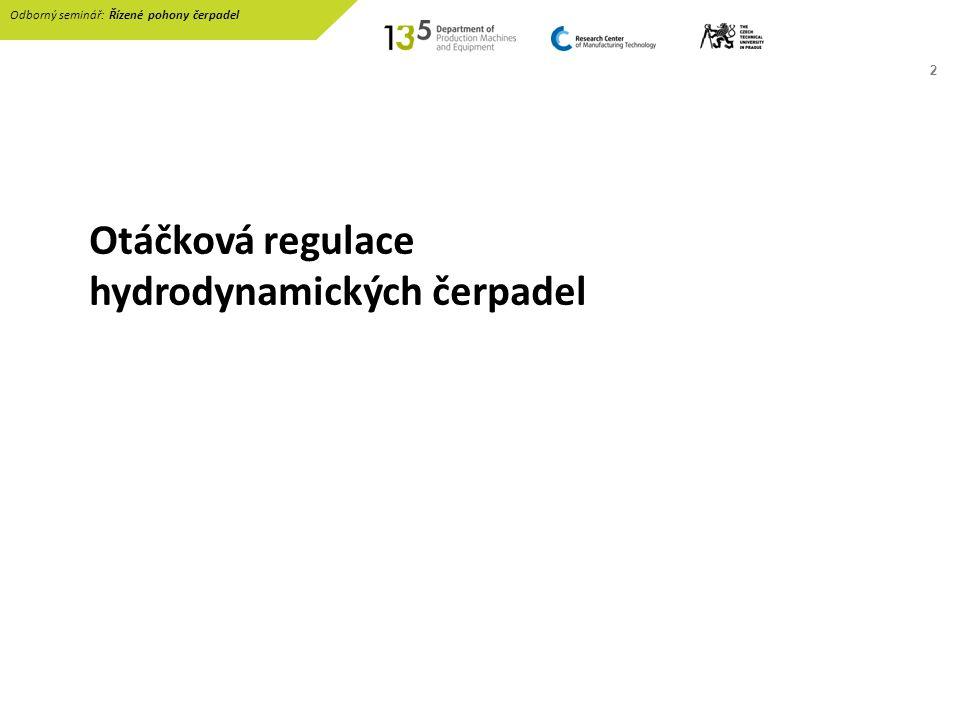 Otáčková regulace hydrodynamických čerpadel