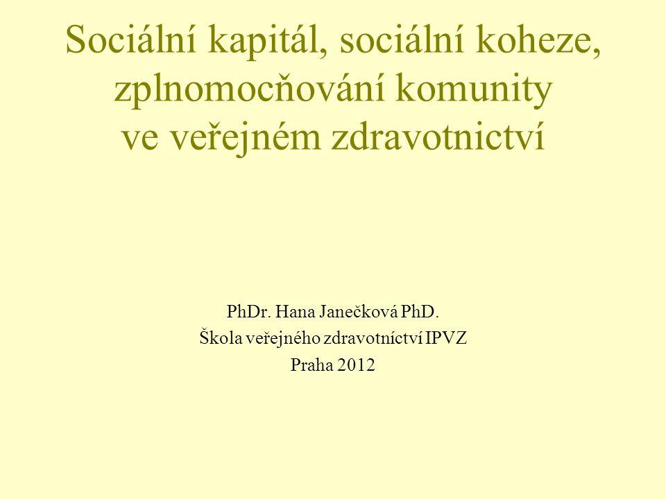 Sociální kapitál, sociální koheze, zplnomocňování komunity ve veřejném zdravotnictví