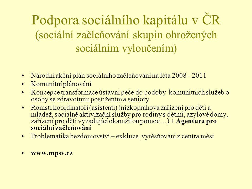 Podpora sociálního kapitálu v ČR (sociální začleňování skupin ohrožených sociálním vyloučením)