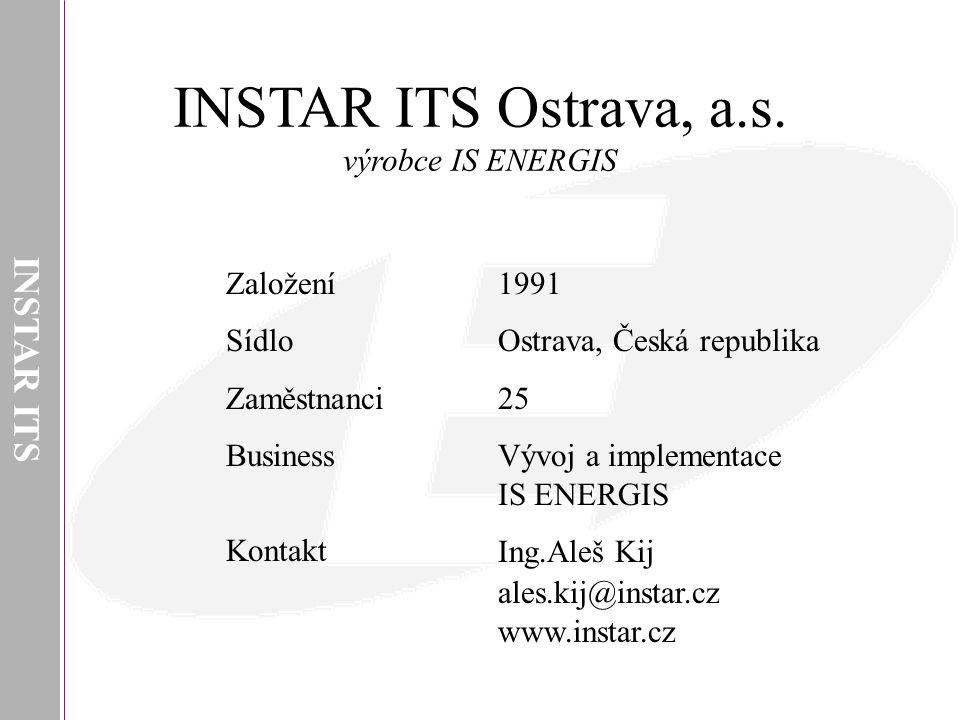 INSTAR ITS Ostrava, a.s. INSTAR ITS výrobce IS ENERGIS Založení Sídlo