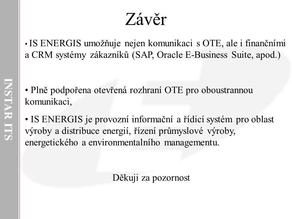 INSTAR ITS Závěr. IS ENERGIS umožňuje nejen komunikaci s OTE, ale i finančními a CRM systémy zákazníků (SAP, Oracle E-Business Suite, apod.)
