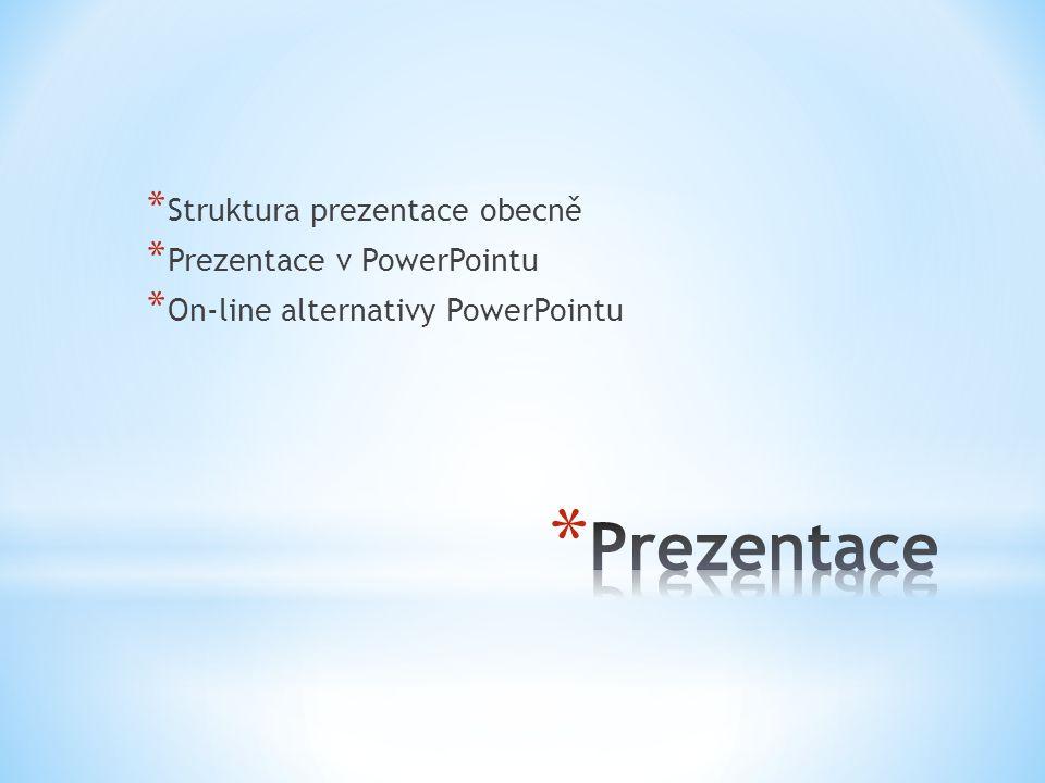 Prezentace Struktura prezentace obecně Prezentace v PowerPointu