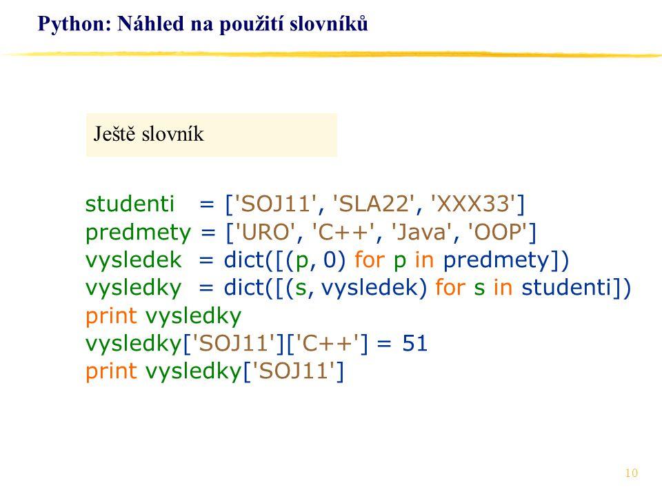 Python: Náhled na použití slovníků