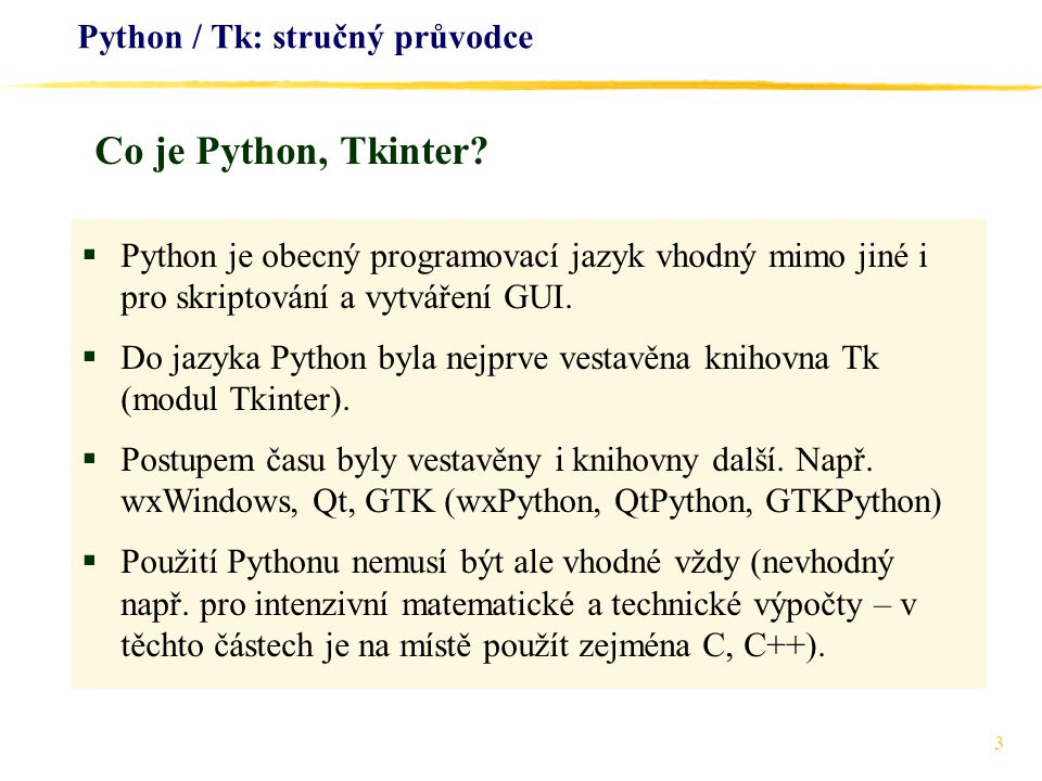 Python / Tk: stručný průvodce