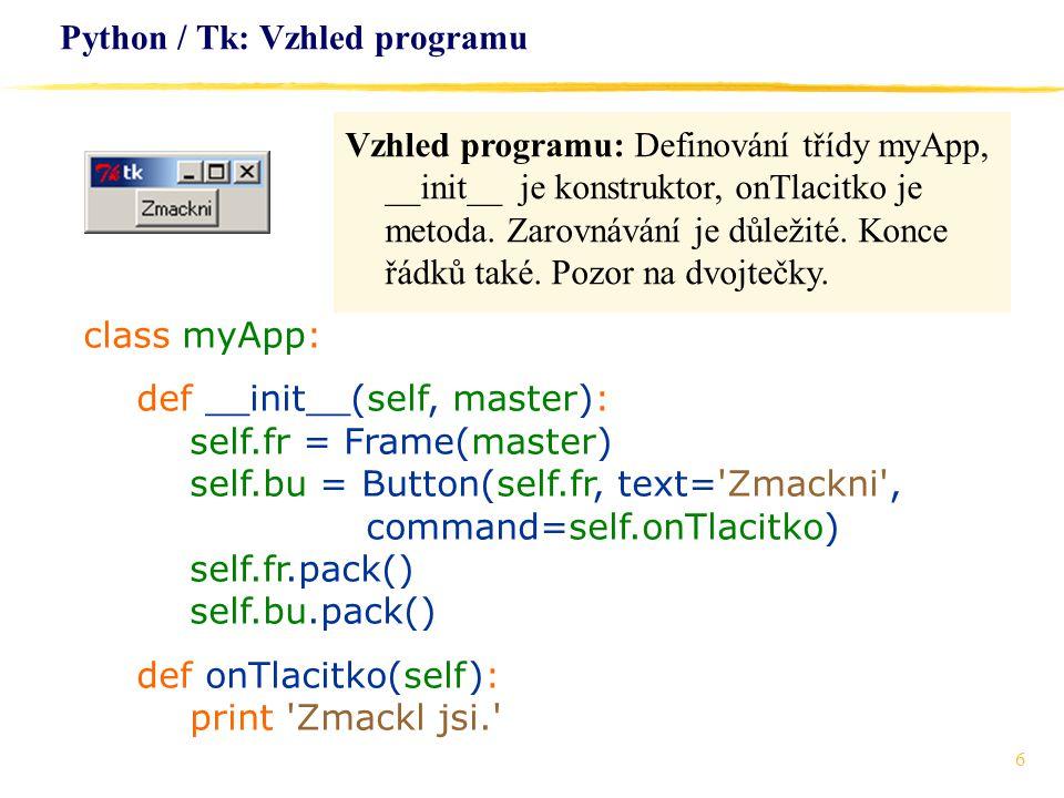 Python / Tk: Vzhled programu