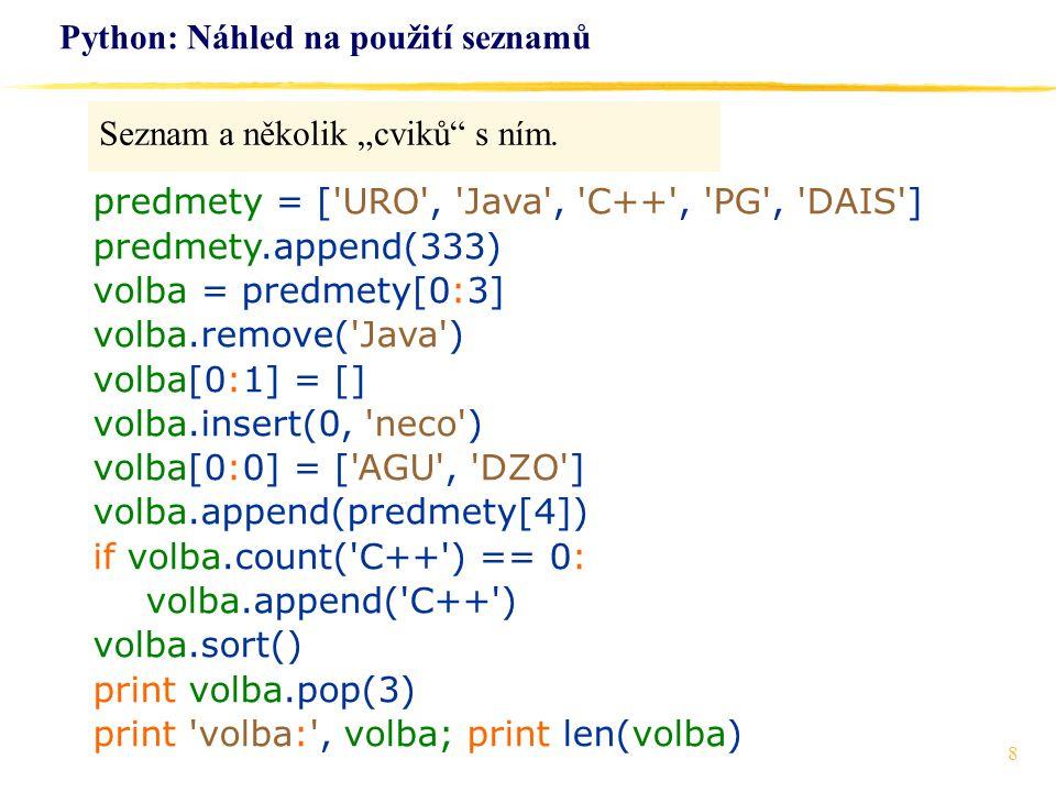 Python: Náhled na použití seznamů