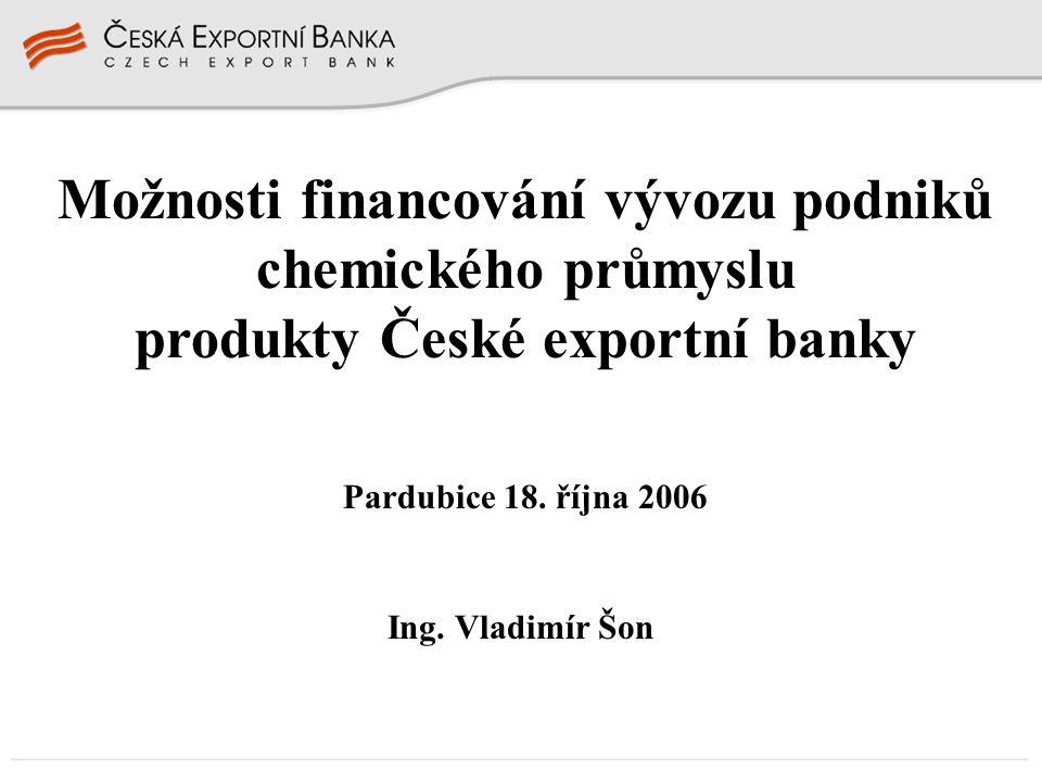 Možnosti financování vývozu podniků chemického průmyslu