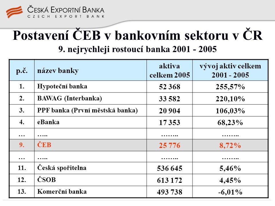Postavení ČEB v bankovním sektoru v ČR