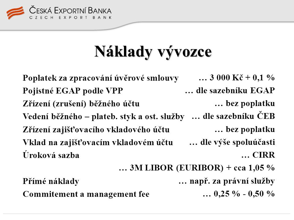 Náklady vývozce Poplatek za zpracování úvěrové smlouvy