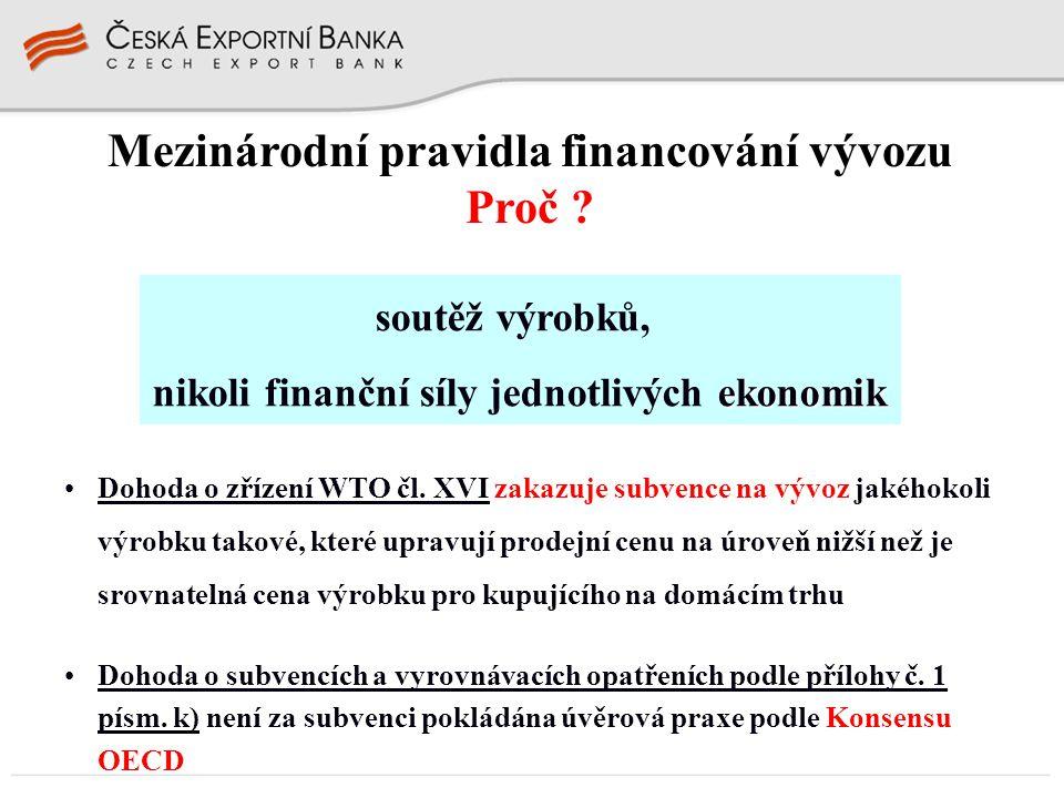 Mezinárodní pravidla financování vývozu Proč