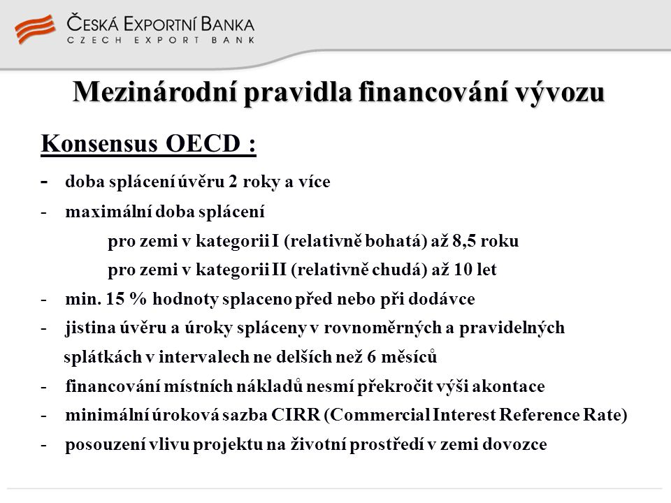 Mezinárodní pravidla financování vývozu