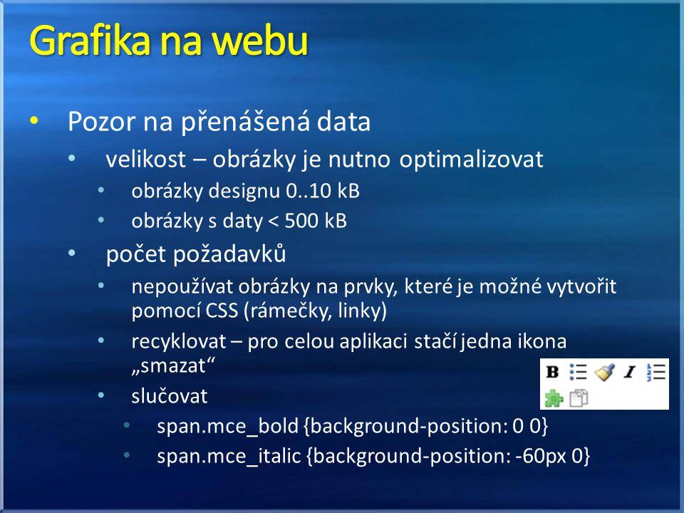 Grafika na webu Pozor na přenášená data
