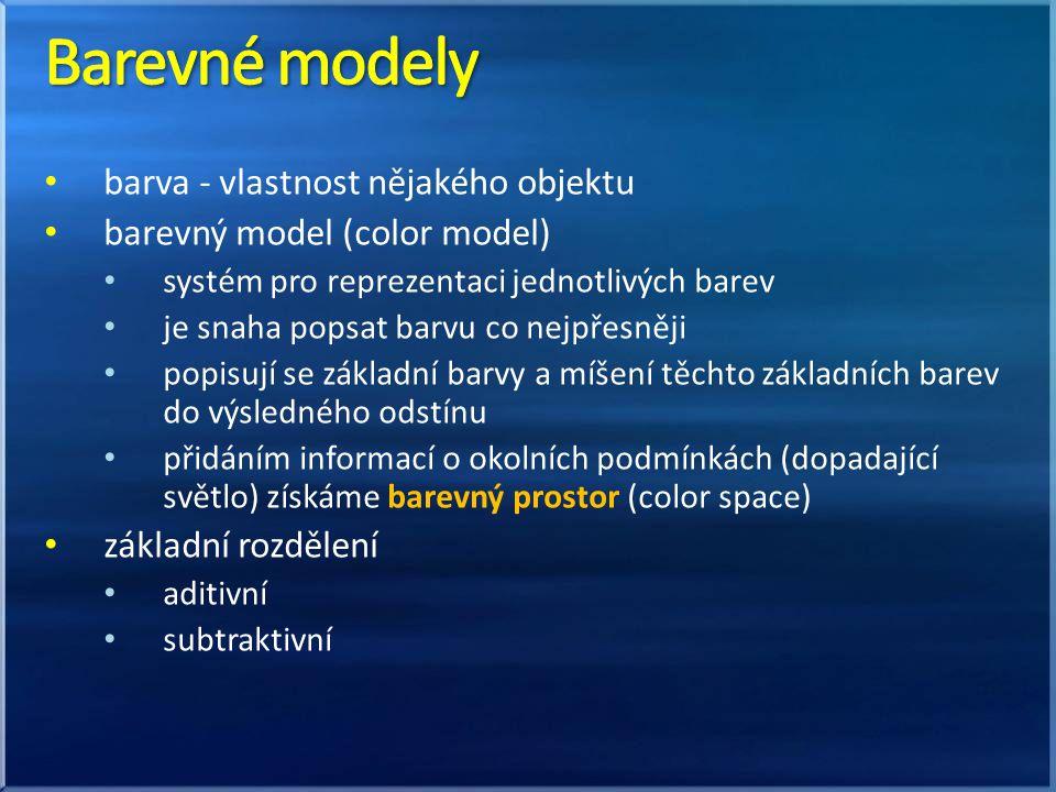 Barevné modely barva - vlastnost nějakého objektu