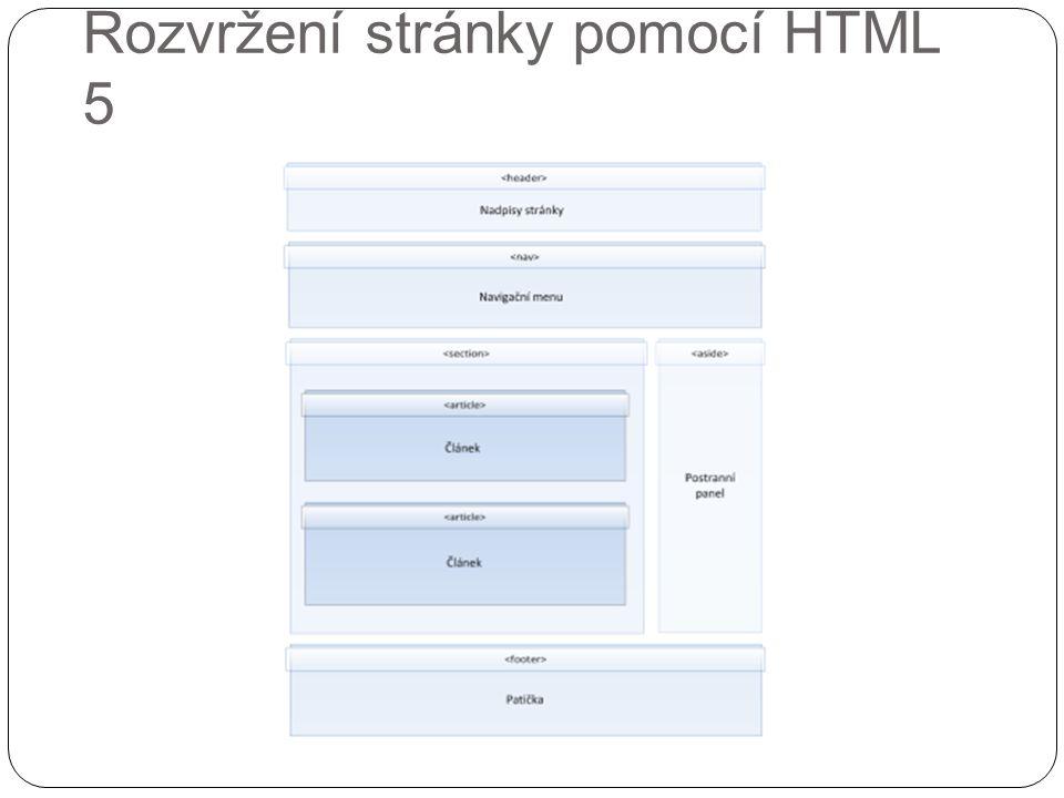 Rozvržení stránky pomocí HTML 5