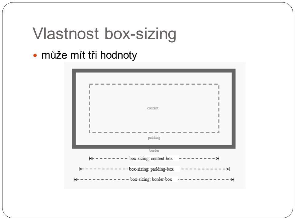 Vlastnost box-sizing může mít tři hodnoty
