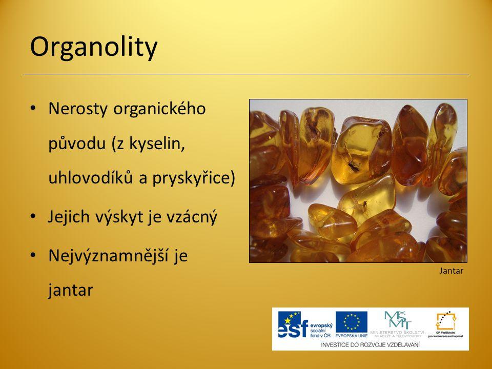 Organolity Nerosty organického původu (z kyselin, uhlovodíků a pryskyřice) Jejich výskyt je vzácný.