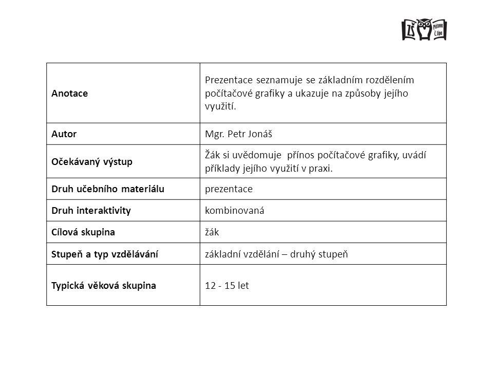 Anotace Prezentace seznamuje se základním rozdělením počítačové grafiky a ukazuje na způsoby jejího využití.