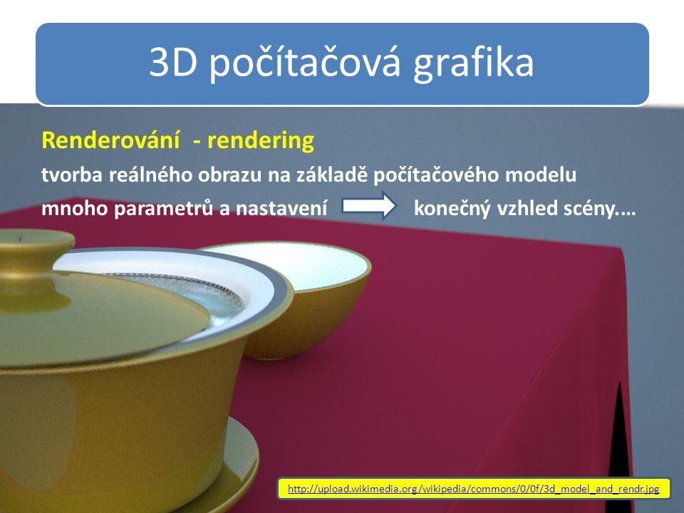 3D počítačová grafika Renderování - rendering