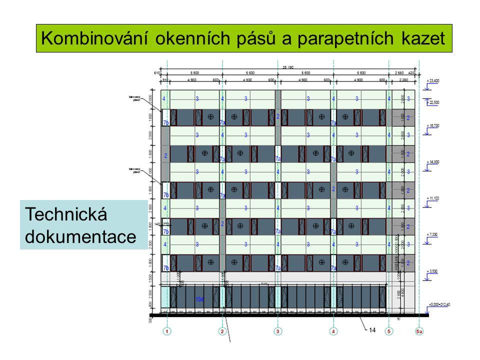 Kombinování okenních pásů a parapetních kazet